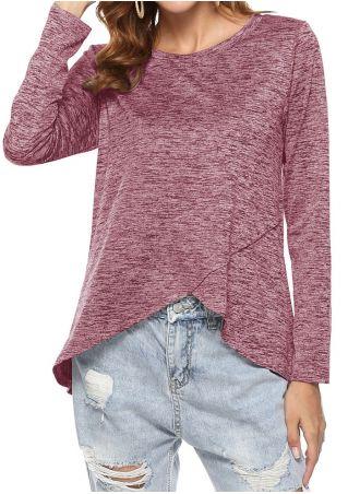 Solid Asymmetric Long Sleeve Blouse