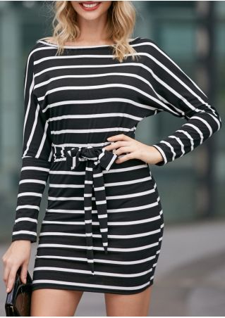 Striped Tie Long Sleeve Bodycon Dress