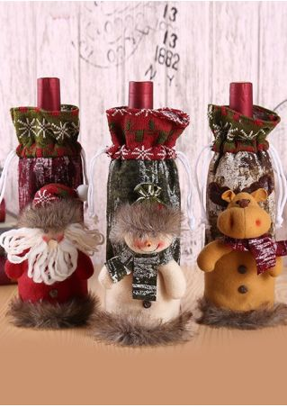 Christmas Santa Snowman Wine Bottle Cover
