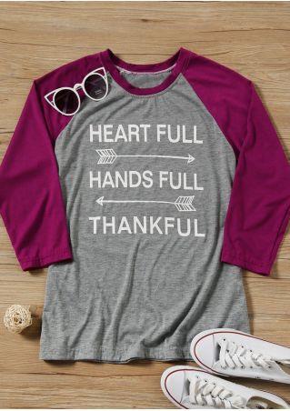 Heart Full Thankful Baseball T-Shirt