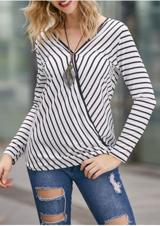 Striped Wrap Long Sleeve Blouse