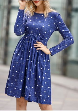 Polka Dot Ruffled Pocket Casual Dress