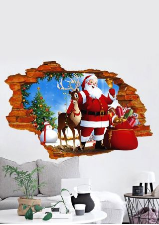 3D Christmas Tree Santa Wall Sticker