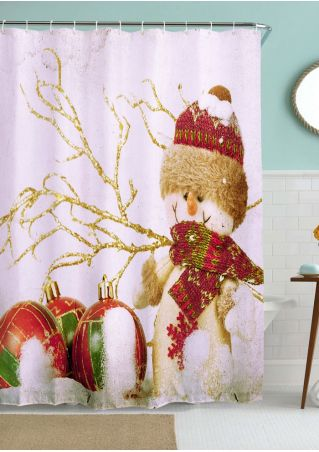 Snowman Tree Shower Curtain with Hook