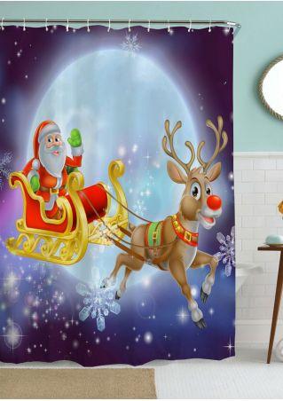 Santa Reindeer Sleigh Shower Curtain with Hook