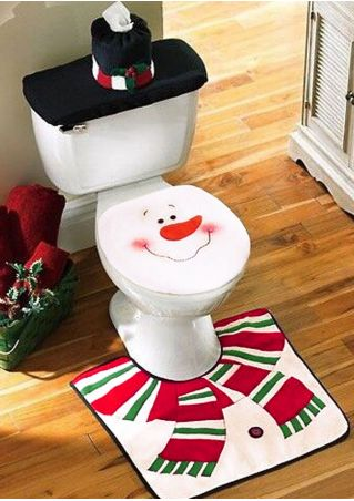 4Pcs Snowman Toilet Mat Set