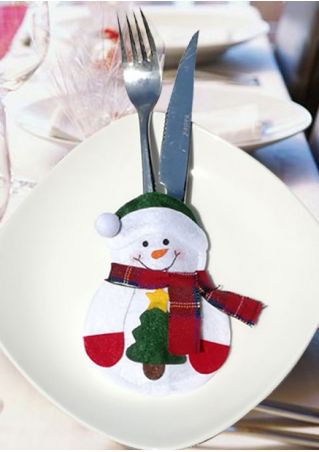Christmas Decoration Snowman Knife Fork Cover