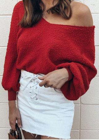 Solid V-Neck Lantern Sleeve Sweatshirt