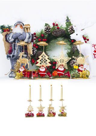 Christmas Santa Elk Candle Decoration