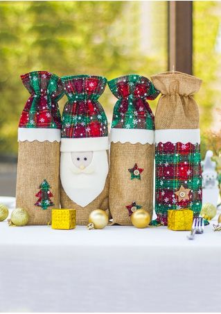 Christmas Santa Star Wine Bottle Cover