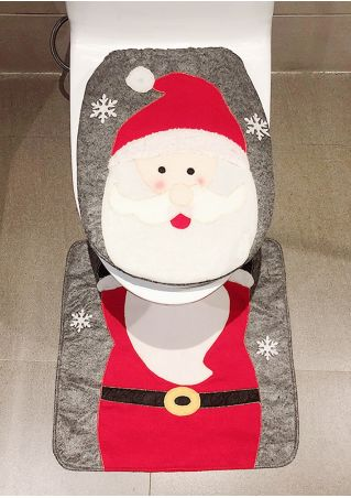 2Pcs Christmas Santa Toilet Mat Set