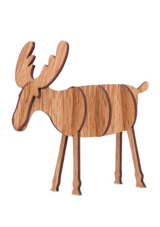 Wooden Reindeer Decoration Zoom