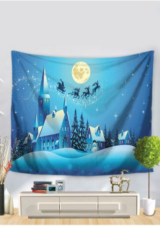 Christmas Snow Sleigh Moon Tapestry