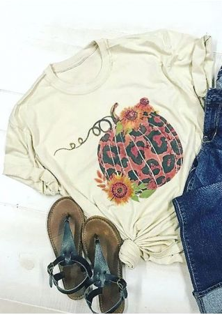 Leopard Printed Sunflower Pumpkin T-Shirt