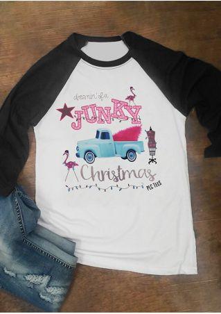 Junky Christmas Flamingo Baseball T-Shirt
