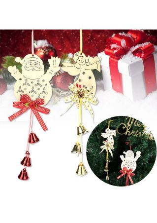 Angel Santa Bell Wooden Hanging Decoration