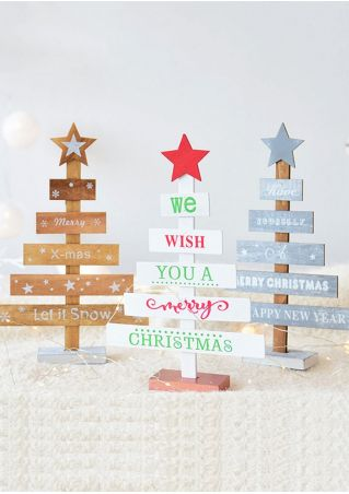 Christmas Tree Star Wooden Decoration