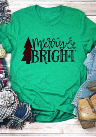 Merry & Bright Tree O-Neck T-Shirt