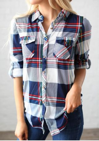 Plaid Turn-Down Collar Tab-Sleeve Shirt
