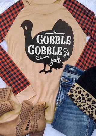 Turkey Plaid Gobble Y'all Baseball T-Shirt