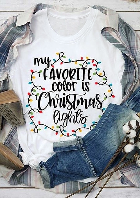 My Favorite Color Is Christmas Lights T Shirt Bellelily