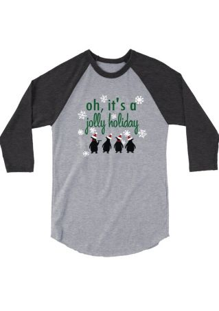 It's A Jolly Holiday Penguin Baseball T-Shirt