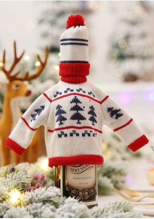 Christmas Wine Bottle Sweater Covers Set