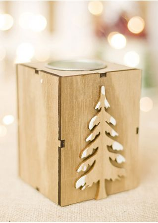 Christmas Tree Wooden Candle Holder
