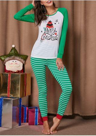 Merry Christmas Tree Striped Pajama Set