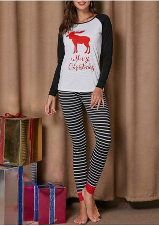 Merry Christmas Reindeer Striped Pajama Set