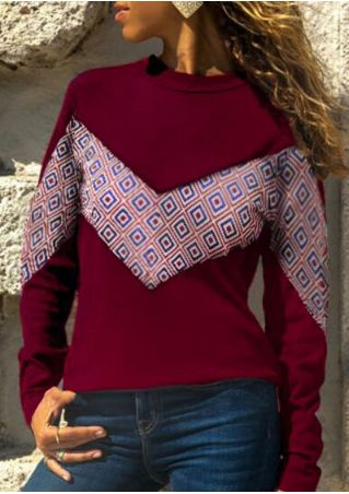 Geometric O-Neck Long Sleeve T-Shirt