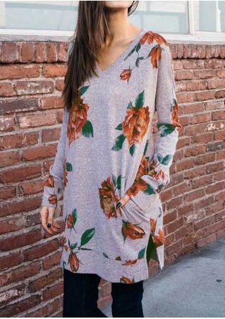 Floral Pocket Slit V-Neck Sweatshirt