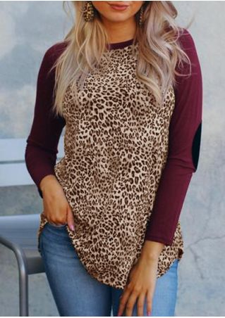 Leopard Printed Elbow Patch Baseball T-Shirt