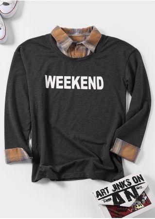 Weekend Plaid Fake Two Piece Sweatshirt