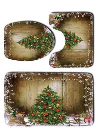 3Pcs ChristmasTree Toilet Mat Set
