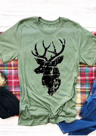 Christmas Reindeer Printed T-Shirt