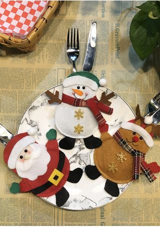 Christmas Santa Snowman Elk Knife Fork Cover