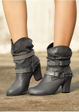 Solid Imitated Crystal Rivet Heeled Boots