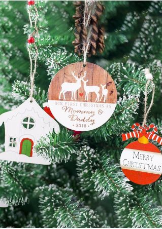 Merry Chriatmas Elk Wooden Ornament