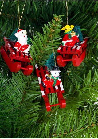 Christmas Wooden Sleigh Pendant