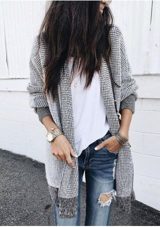 Plaid Splicing Knitted Long Sleeve Cardigan