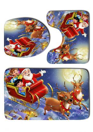 3Pcs Christmas Samta Toilet Mat Set