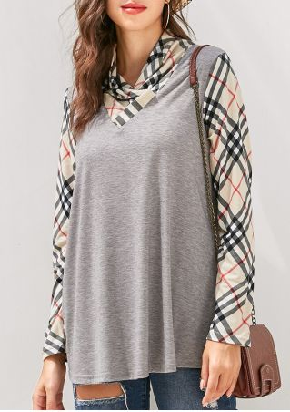 Plaid Splicing Cowl Neck Blouse