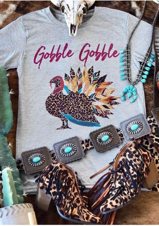 Gobble Leopard Printed Turkey T-Shirt