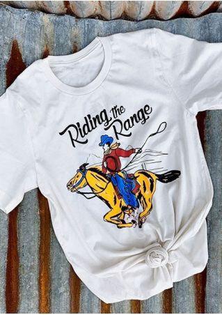 Riding The Range Horse Printed T-Shirt