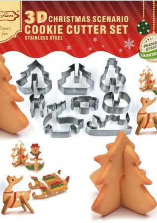 8Pcs Christmas Tree Cookie Mould