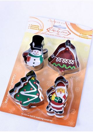 4Pcs Christmas Tree Cookie Mould