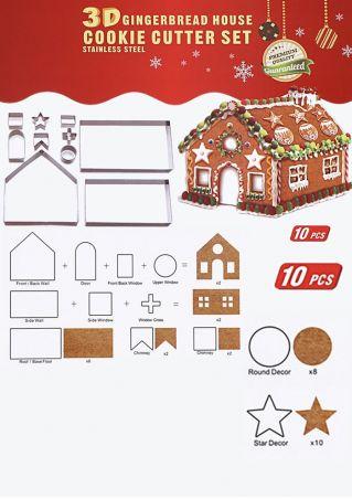 10Pcs Christmas Cake House Mould