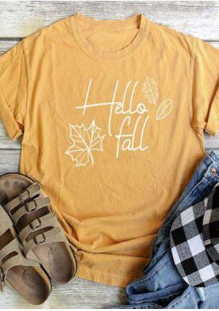 Hello Fall Maple Leaf O-Neck T-Shirt
