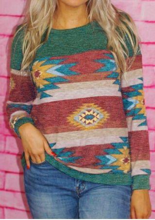 Striped Geometric Long Sleeve T-Shirt